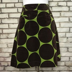 Boden Olive and Brown Dot Velvet Skirt UK12 US8